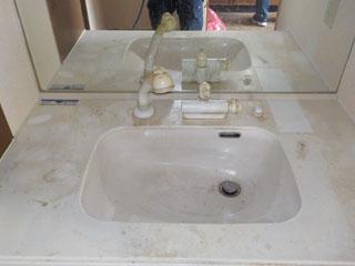 洗面台の撤去後